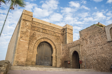 bab: Bab el Kebir is the main gate of Kasbah of the Udayas, located in south-west side.Kasbah of the Udayas is a small fortified complex and a symbol of the Almohad arquitecture, added to the UNESCO World Heritage.Rabat, Morocco. North Africa.