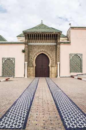 declared: Main entrance of Moulay Ismail mausoleum in Mequinez medina.The old medina of Meknes is declared