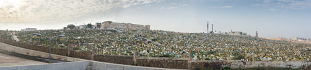 north africa: Panoramic view of the Muslim cemetery of Rabat. View from Kasbah of the Udayas. Rabat, Morocco. North Africa. Editorial