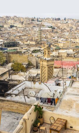 fez: View of the rooftops of the Fez El Bali medina. Fez, Morocco. North Africa. Stock Photo