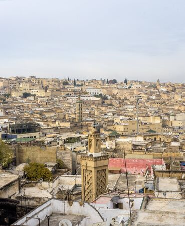 fez: View of the rooftops of the Fez medina. Fez, Morocco. North Africa.