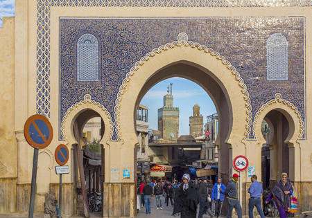 bab: Bab Bou Jeloud. The blue gate is a gate to ancient Fez El Bali Medina. Fez, Morocco. North Africa.