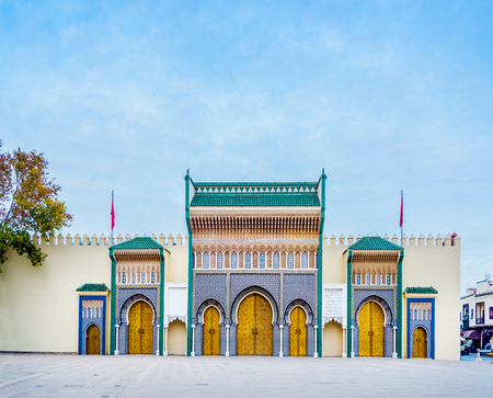 fez: Bab Makhzen side gates of the Royal Palace in Fez, Morocco. North Africa. Editorial