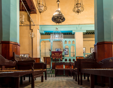 fez: The Ibn Danan Synagogue in Mellah, the jewish quarter of Fez. Fez El Jdid, Morocco. North Africa. Editorial