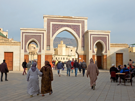 fez: Citizens in Bab Rcif gate. view from Boulevard Ben Mohammed El Alaoui. Bab Rcif is a gate to ancient Fez El Bali Medina. Fez, Morocco. North Africa.