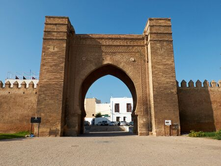 bab: Bab Mellah in Place Bab El Mrissa. Bab El Mrissa is the main gate to ancient Sale Medina. Rabat, Morocco. North Africa.