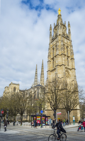 aquitaine: People walking near to Cathedral of St. Andre.Saint Andre is a gothic cathedral of Bordeaux, the capital of Aquitaine. France. Editorial