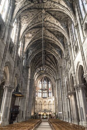 nave: Nave of St Louis des Chartrons church. Saint Louis des Chartrons is a typical neo-gothic construction and is situated in the district of Chartrons, in north of old town. Bordeaux is the capital of Aquitaine. France. Editorial