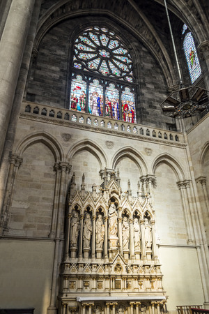 christian altar: Aisle of St Louis des Chartrons church. Saint Louis des Chartrons is a typical neo-gothic construction and is situated in the district of Chartrons, in north of old town. Bordeaux is the capital of Aquitaine. France. Editorial