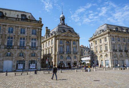 aquitaine: Bordeaux, France - March 26, 2016. People walking in Place de la Bourse square. Bordeaux, Aquitaine. France. Editorial
