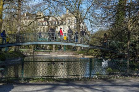 parc: Bordeaux, France - March 27, 2016. People walking in Parc Bordelais, the bigger public garden of Bordeaux. Aquitaine. France. Editorial