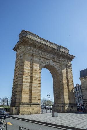 bir: Bordeaux, France - March 26, 2016. Porte de Bourgogne gate, view from Place Bir Hakeim. Bordeaux, Aquitaine. France.