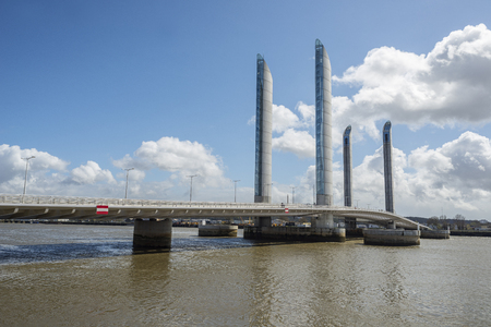 jacques: Grand port maritime de Bordeaux and Pont Jacques Chaban-Delmas in background. Bordeaux, Aquitaine. France.