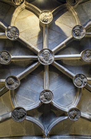 bartolome: Ceiling detail of San Bartolome church in Logrono, La Rioja. Spain. Stock Photo