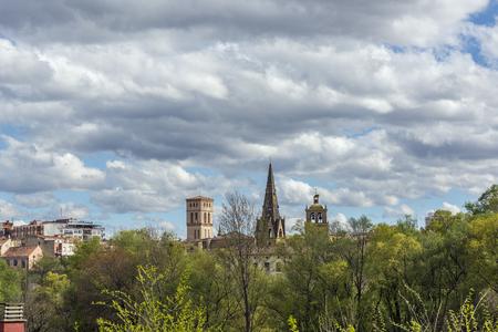 bartolome: Park of the Ebro river skyline With Logrono (Santa Maria de Palacio and San Bartolome belltowers) in background. The Rioja. Spain.
