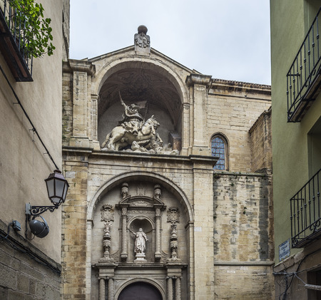 real renaissance: Main facade of Santiago el Real church in Logrono. This church is dedicated to St. James, the patron saint of Spain. The Rioja. Stock Photo