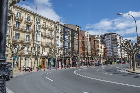 exterior shape: Cervantes wall street in downtown of Logrono, La Rioja. Spain. Editorial