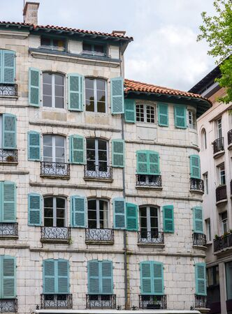aquitaine: Antique building of France in a street of Bayonne. Aquitaine, France. Editorial