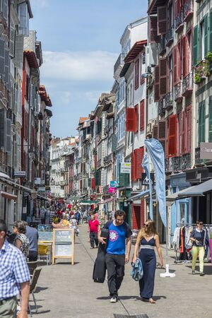 rue: Bayonne, France - May 21, 2016: People walking in Rue de Espagne street, the main shopping street in Bayonne. Aquitaine, France.