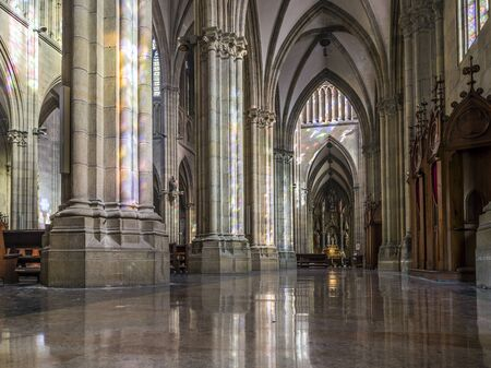 church building: San Sebastian (Donostia), Spain - May 29, 2016: Aisle of Cathedral of the Good Shepherd (Buen pastor) located in the city of San Sebastian, Gipuzkoa, Basque Country, Spain. Editorial