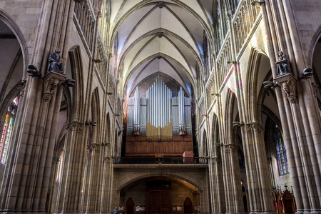 church building: San Sebastian (Donostia), Spain - May 29, 2016: Pipe organ in nave of Cathedral of the Good Shepherd (Buen pastor) located in the city of San Sebastian, Gipuzkoa, Basque Country, Spain.