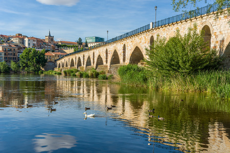 castille: Stone bridge over Douro river and Zamora city in background. Castilla y Leon, Spain.