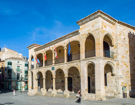 old town hall: People walking in front of principal facade of old town hall in mayor square of Zamora, Castilla y Leon. Spain.