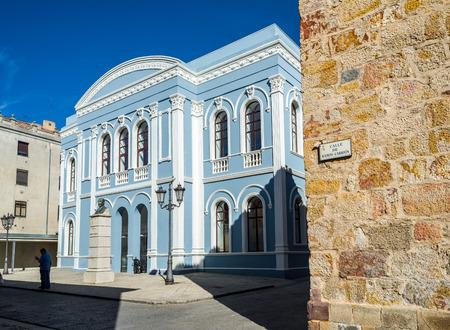 castille: Zamora, Spain - June 19, 2016: Principal facade of Ramos Carrion theater in Zamora, Castilla y Leon. Spain. Editorial
