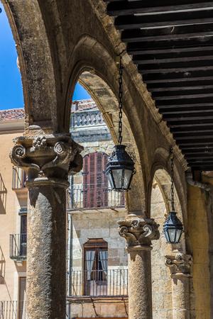 Architectural detail in gallery of town hall in mayor square of Ciudad Rodrigo, Salamanca. Castilla y Leon. Spain.
