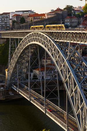 metro train: Metro train crossing Dom Luis I (or Luiz I) bridge over Douro river in the city of Porto. Portugal.