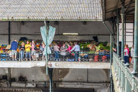 greengrocer: Greengrocer of historical Mercado do Bolhao, local market in Porto, Portugal.