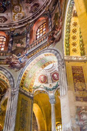 Aisle of the Basilica of San Vitale in Ravenna, Emilia-Romagna. Italy. Editorial