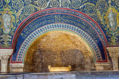 baptizing: Arch mosaic inscription of the Neoniano Baptistery of Neon in Ravenna, Emilia-Romagna. Italy.