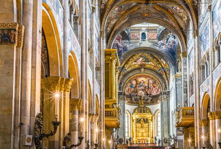 Inside of the Cathedral of Santa Maria Assunta of Parma. Emilia-Romagna. Italy.