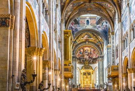 italian fresco: Inside of the Cathedral of Santa Maria Assunta of Parma. Emilia-Romagna. Italy.