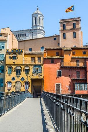 gomez: Pont de Gomez bridge in the downtown of Girona with Santa Maria cathedral in background. Gerona, Costa Brava, Catalonia, Spain.