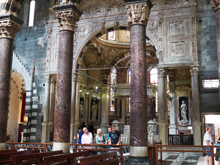 cattedrale: Genova, Italy - July 26, 2016. Inside of San Lorenzo cathedral of Genova. Liguria, Italy.