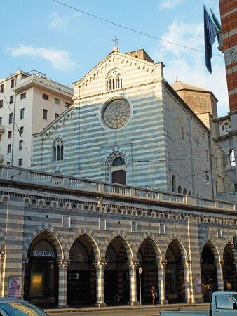 abbazia: Pisa, Italy - July 25, 2016. Principal facade of Abbazia di Santo Stefano church in Via XX Settembre of Genova. Liguria, Italy.