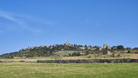 rural skyline: Skyline of Trujillo in Caceres. Extremadura, Spain. Stock Photo