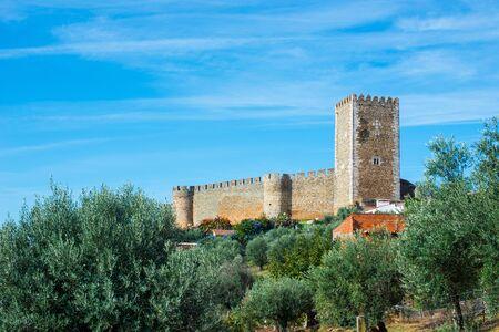 ramparts: Walls and keep tower of Castelo de Portel (Castle of Portel). Portel, Alentejo. Portugal.