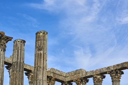 patrimony: Archaeological remains of a roman temple of Diana in the downtown of Evora, Alentejo. Portugal. Stock Photo