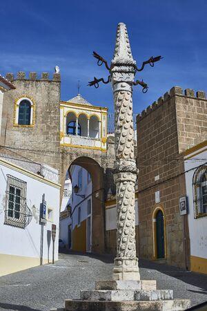 patrimony: Pillory in Largo de Santa Clara square. Elvas, Alentejo, Portugal.
