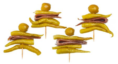Four Gilda, typical spanish pincho with olive, anchovy and green chilli. Stock Photo