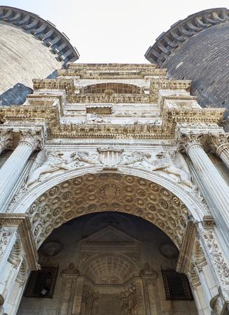 Triumphal arch in main facade of Castel Nuovo, Maschio Angioino of Naples. Campania, Italy.