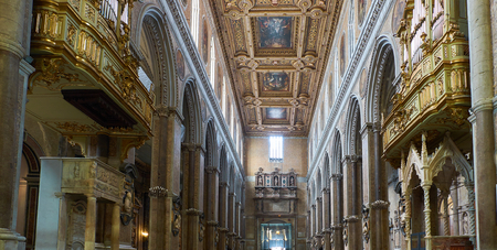 Naples, Italy - August 8, 2017. Nave of  Santa Maria Assunta cathedral, Duomo di Napoli. Naples, Campania, Italy.