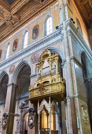 Naples, Italy - August 8, 2017. Pipe organ of Santa Maria Assunta cathedral, Duomo di Napoli. Naples, Campania, Italy. Editorial