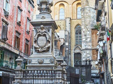 obelisco: Detail of  San Gennaro obelisk in Piazza Cardinale Sisto Riario Sforza. Naples. Campania, Italy.