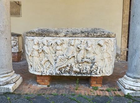 Roman sarcophagi in atrium of the Cattedrale di Salerno Cathedral in Duomo di Salerno. Campania, Italy.