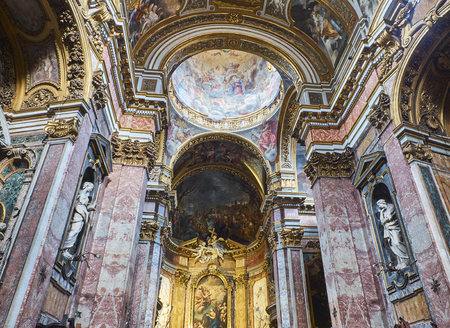 Rome, Italy - August 19, 2017. Nave of Chiesa di Santa Maria Maddalena church. Rome, Lazio, Italy.