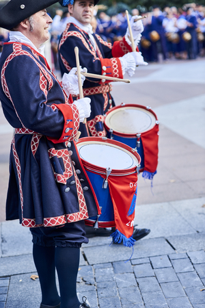 San Sebastian, Spain - August 31, 2017. Soldiers drumming in Tamborrada, the drum parade to commemorate the day that allied Anglo-Portuguese troops invaded the city. Basque Country, Guipuzcoa. Spain. Editorial